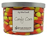 Star Hollow Candle Co Candy Corn Large Silver Lid Jar Candle, White