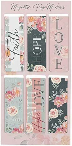 Set of 6 Faith Hope Love w Pink Roses Inspirational Magnetic Bible Verse Bookmark with Scripture product image