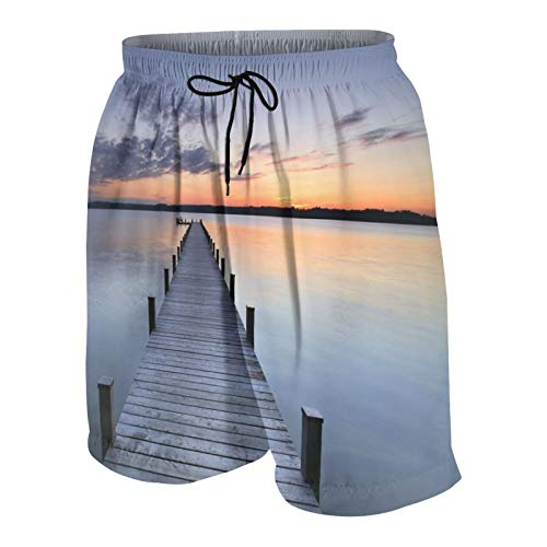 KOiomho Hombres Personalizado Trajes de Baño,Amanecer del Muelle de Senik,Casual Ropa de Playa Pantalones Cortos