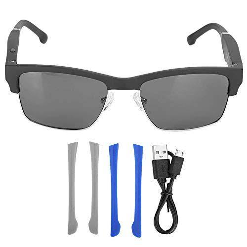 Denash Drahtlose Musik Bluetooth Brille Kopfhörer, Stereo Musik Sonnenbrille Polarisierte Brille Sowohl Headset als auch Freisprecheinrichtung für alle Arten von Handys(Silber)