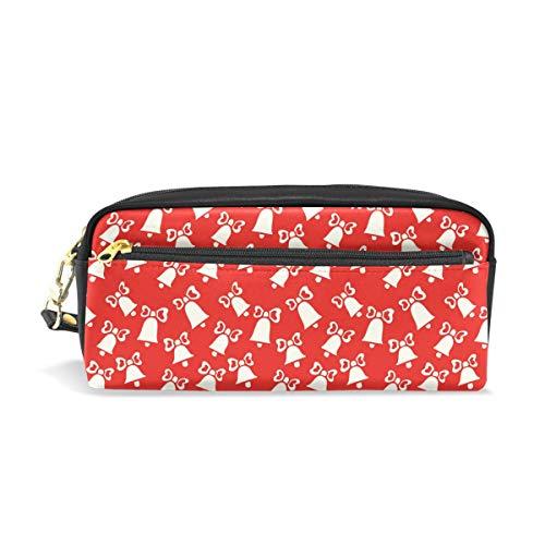 Montoj - Estuche para bolígrafos, diseño de cascabeles de Navidad, color rojo