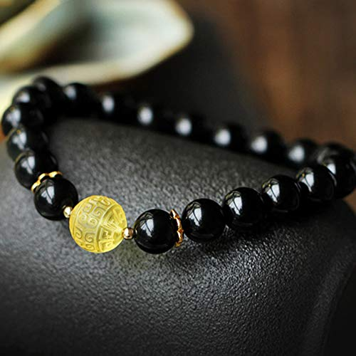 Feng Shui Natural Black Obsidian Wealth Bracelet Beeswax Buddha Beads Charms Amulet Bracelet Lucky Chinese Gifts for Healing Attract Money for Good Fortune Courageous Bring Prosperity