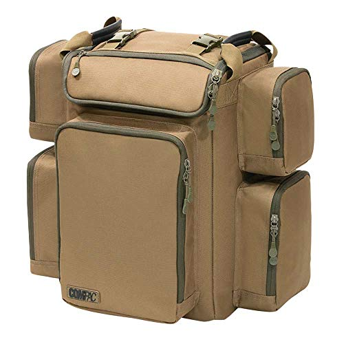 Korda Carp Fishing Luggage Compac 45 litre Rucksack Water Resistant Fabric Reinforced Waterproof Base Fully Adjustable Shoulder Harness with Chest Straps 5 External Pockets 45cm x 42cm x 32cm