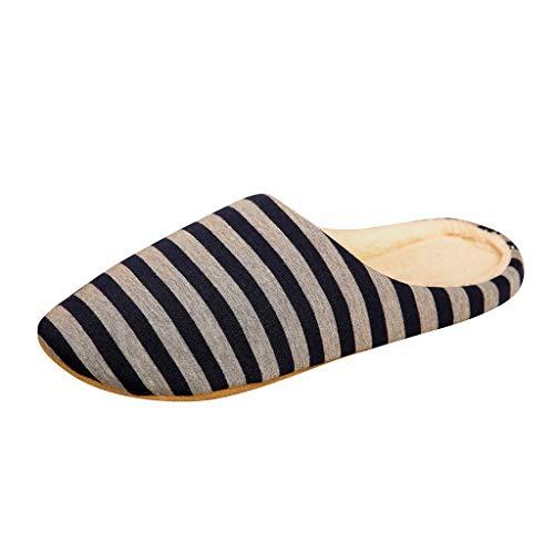 Hausschuhe Herren Streifen Herbst und Winter Hausschuhe Wärme Memory Foam Slippers High Qualität Weiche Flache Plüsch Pantoffeln Kuschelige rutschfeste Schuhe