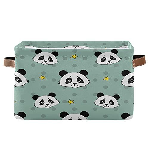 Echobu - Cestino portaoggetti con motivo a forma di panda con manico, pieghevole, in tela, per camera da letto, ufficio, armadio, armadio, 2 pezzi