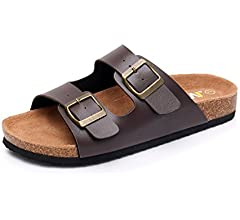 WTW Men's Slip on Flat Cork Sandals with Adjustable Strap