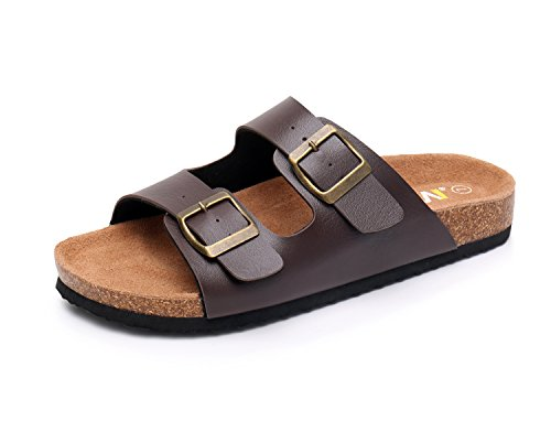 WTW Women's Arizona 2-Strap Cork Footbed Sandals (10 B(M) US, Brown)