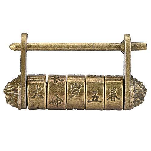 Fdit Cerradura de contraseña con combinación de Caracteres Chinos Vintage, 50x27 mm Candados Antiguos de aleación de Zinc para joyero, gabinete de Madera, Regalo, Bronce