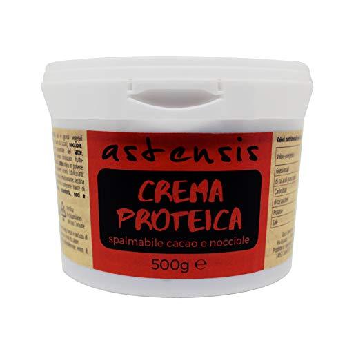 ASTENSIS Crema Proteica Nocciola e Cioccolato, Spalmabile Artigianale 500g - 33,4% di Proteine - Senza Zucchero, Senza Glutine e Senza Olio di Palma Adatto per Dolci Proteici