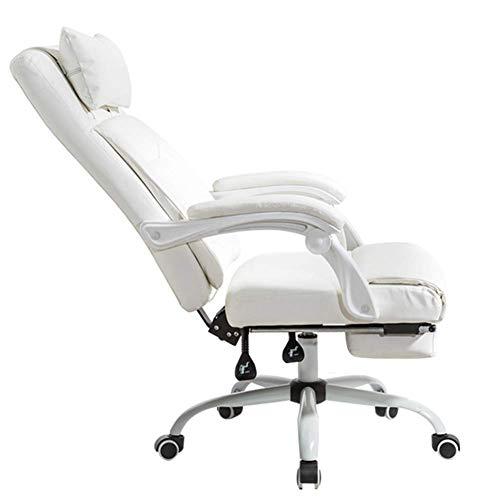 Silla ergonómica para juegos / oficina ejecutiva, altura ajustable del reposacabezas en ángulo trasero, reposapiés retráctil, silla giratoria de cuero para computadora de carreras con respaldo alto