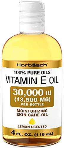 Vitamin E Oil 30,000 IU | 4 fl oz | 100% Pure Oils | Moisturizing Oil for Skin and Face | Non-GMO, Vegetarian | By Horbaach