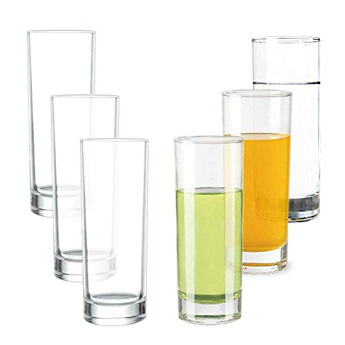 Lhx Transparent Base High Pole Bar Glass, Drinking Glasses Straight Cup Water, Juice, Beer Cocktail 9.8 oz,6.5 inches Tall (Set of 6)