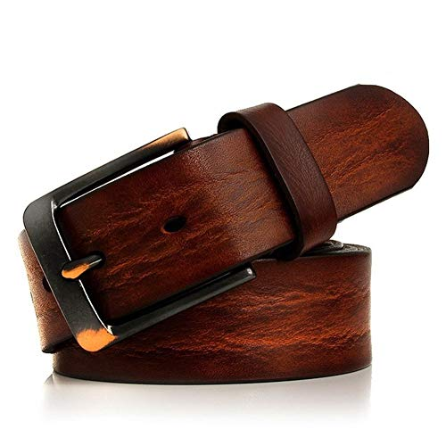 hgkl - Cinturón de piel para hombre de negocios de alta calidad, pulsera para hombre, ancho de ardillon Jeans (longitud: 105 cm, color: rojo Brown)