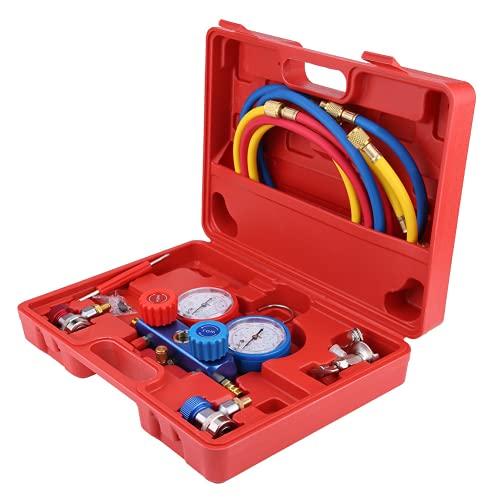 Cikonielf Set manometro collettore, Guarnizione positiva Rosso R134a manometro collettore condizionatore d'Aria per Auto per Camion per SUV