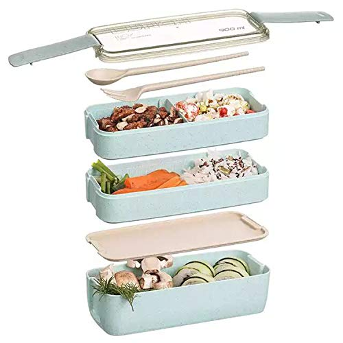 Bento Box Japanese Lunch Box 3-In-1 Compartment Wheat Straw Leak-proof Eco-Friendly Bento Lunch Box Meal Prep Containers with UtensilsDividers for Kids and Adults Green