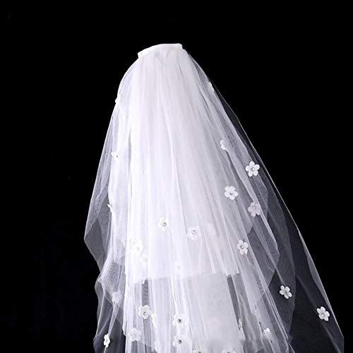 WFSDKN Bruids Sluier Tule Bruidsjurk Sluiers Fluffy Wit Bloemen Multi Laag Bruids Haar Sluier Kam Bruid Fee Huwelijk Accessoires