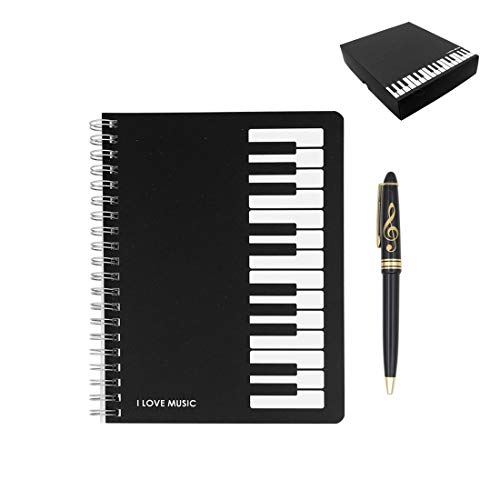 Exquisite 2 in 1 Music Theme Stationery Gift Box Set Includes 1pc Loose Leaf Notebook and 1pc Roller Ball Pen for Father's Day Gift Kids School Supplies Business Gift (Piano Keyboard Notebook)