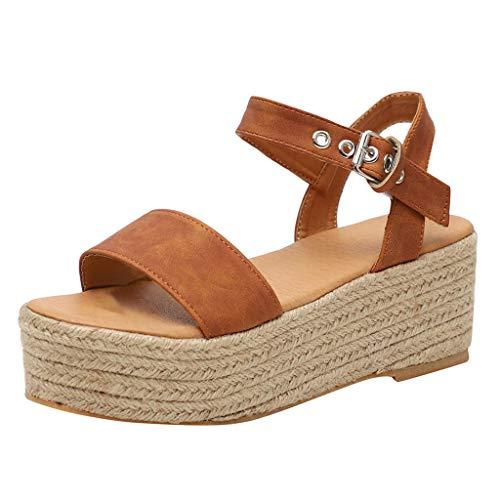 Sandalias Mujer Verano 2019 con Plataforma - Roman Leopardo Serpiente Paja Tejido Zapatos de Cuña - con Altas Tacon 5 CM - Talla 35-43 - para Playa Fiesta