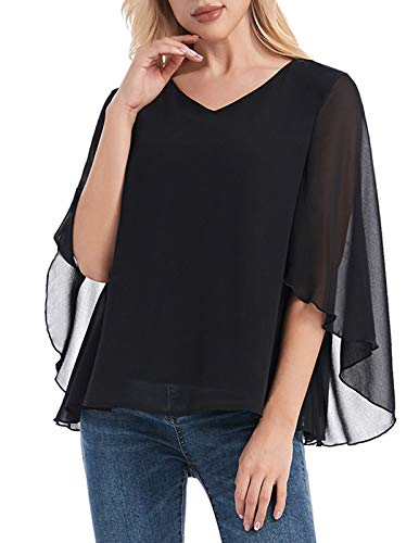 ANGGREK dames chiffon blouse 3/4 mouw V-hals asymmetrisch tuniek shirt met volant trompetmouwen