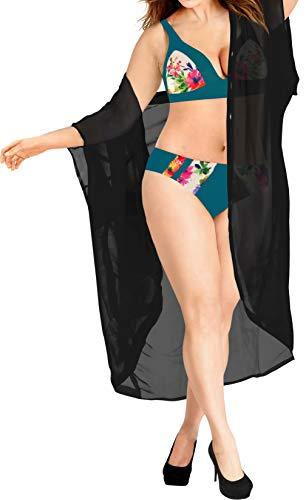 LA LEELA Gilet Plage Kimono Femme Veste Cardigan Plaine Chemise en Mousseline d'été Lâche de Mode Blouse Châle Bikini Beachwear Halloween Noir_O987