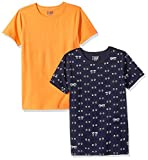 LOOK by Crewcuts - Camiseta de manga corta para niño, estampado/liso (2 unidades), Orange/ Eye Eye Navy, 6-7