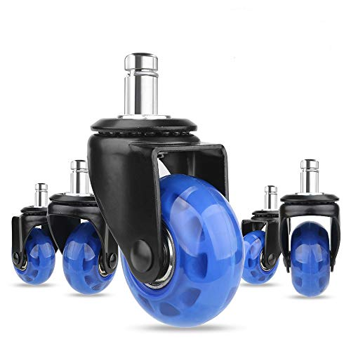8T8 Upgraded Chair Caster Wheels 2'', Quiet and Smooth Gliding,Heavy Duty Wheels with Plug-in Stem 11X22 (7/16''X7/8''), Safe for Hardwood Carpet Tile Floors, Set of 5 (Blue, 2 inch)