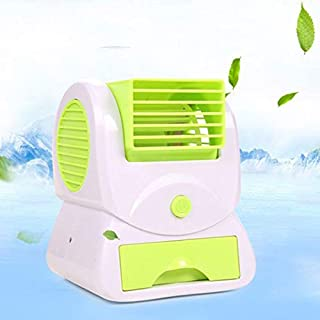 Mini Air Conditioner Fan,Leafless Humidification Fan Portable Humidifier Fan Silent Cooling Fan Evaporative Air Cooler with USB Port-Green