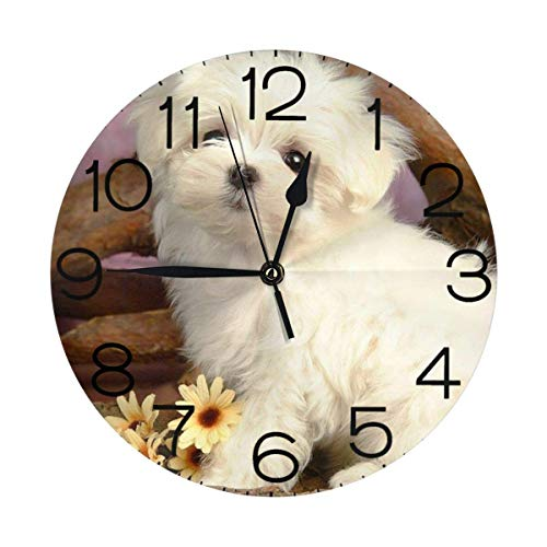 GOSMAO Round Wall Clock,Maltese Puppy,Desk Clock Home Decor for Kitchen Living Room Bedroom Office