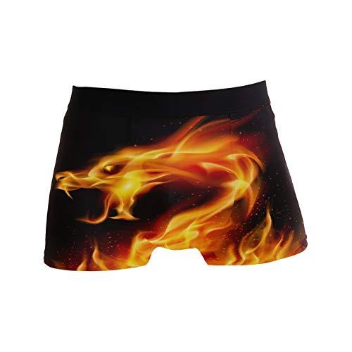 Linomo Herren Boxershorts Galaxis Feuer Drachen Unterhosen Männer Herren Unterwäsche für Männer