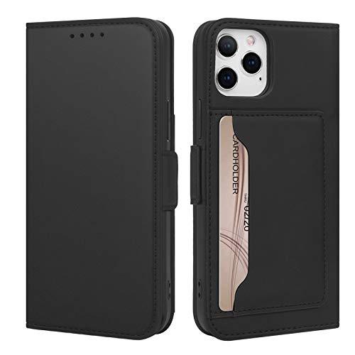 SUPWALL Handyhülle für iPhone 12 / iPhone 12 Pro Hülle (6,1 Zoll), [Kartenfäch & Kickstand] Stoßfest PU Leder Tasche Flip Case Schutzhülle für iPhone 12 6.1,Schwarz