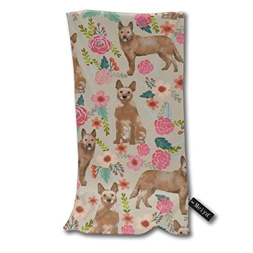 Rasyko Australian Ganado Perro Florales Crema Arena Microfibra Toallas de baño, suave, antibacteriano, multiusos uso duradero