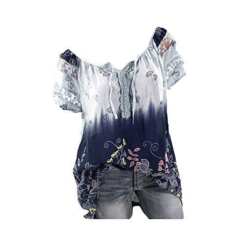 Riou Camicia Donna Elegante Manica Corta Estive Bluse Elegantei Casual Solido Taglie Forti Sciolto Stampa Pizzo Sexy Moda Plus Size T-Shirt Camicetta