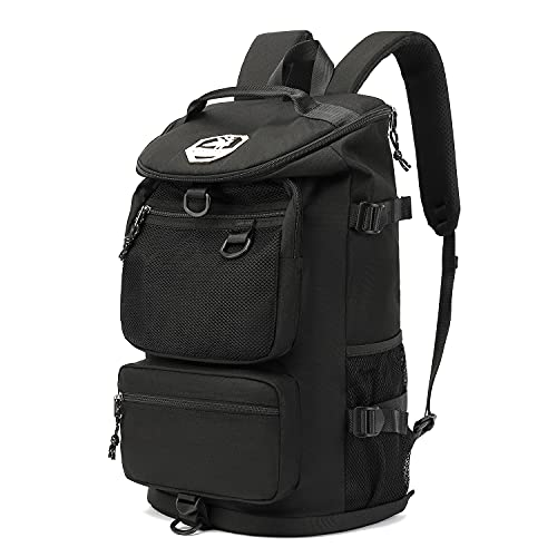 Gym Duffle Bag Backpack 4-Way Waterproof with Shoes Compartment for travel Sport Hiking laptop (Black)