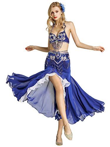 Zengbang Vestiti da Ballo Latino Donna Reggiseno Top di Danza del Ventre Gonna Fishtail (Blu(2PCS), Asia S)