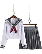 【小松丸】グレーの襟 セーラー服 長袖 半袖 白い グレー 金魚結び リボン 制服 学生 5点セット 靴下付き(黒)