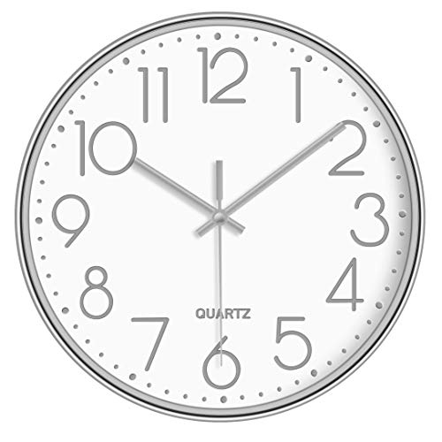 LAMIKO Non-Ticking Silent Wall Clocks 12 Inch Battery Operated Quartz Decro Clock Easy to Read for...