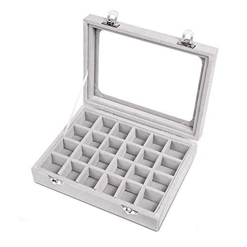 LQRYJDZ Joyería de la Caja con Tapa de Vidrio, joyería del Anillo de Terciopelo Caja de Cristal de la Pantalla del Organizador, Regalo for Loved Ones