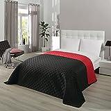 Delindo Lifestyle® Tagesdecke Bettüberwurf Serie Premium Duo, für Doppelbett, schwarz rot, für Schlafzimmer, 220x240 cm