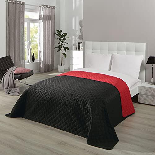 Jeté de lit série Premium Duo pour lit double, noir/rouge, pour chambre à coucher, 220 x 240 cm
