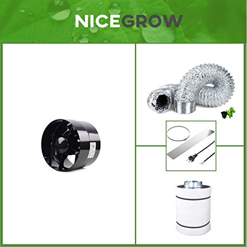 Nice Grow Abluft-Set Growzelt Black Orchid Axial Flo Turbo 243 CBM/h Aktivkohlefliter 125