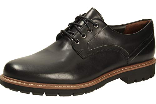 Clarks Herren Batcombe Hall Derbys, Schwarz (Black Leather), 45 EU