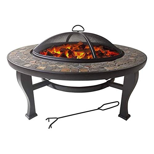 JIACTOP Black Outdoor Fire Pit, Round 34' Natural Slate Top with Spark Screen Cover for Outside Backyard Patio Camping Deck