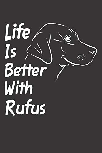 Life Is Better With Rufus: Blank Dotted Male Dog Name Personalized & Customized Labrador Notebook Journal for Women, Men & Kids. Chocolate, Yellow & ... & Christmas Gift for Dog Lover & Owner.