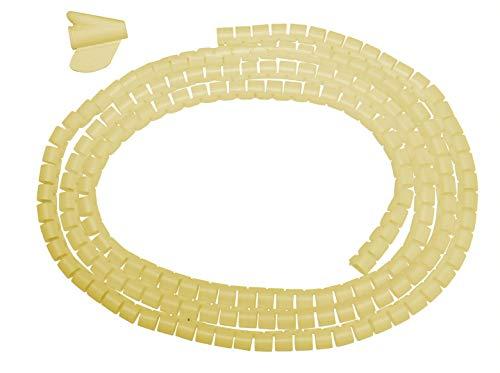2m Kabel-Spiralschlauch creme-farben rund 10mm mit Einziehhilfe Kabelorganisation Kabelschlauch Kabelspirale Plastik Spiral Kabelkanal Spiralband Wickelschlauch Kabelschutz Kabelhülle Computer & HiFi