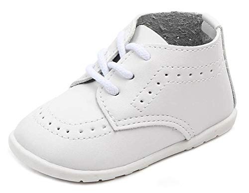 Anrentiy Baby Toddler Boys Girls Oxford Dress Shoes Classic Formal Infant First Walking Christening Shoes XPX-001 WT 11 White