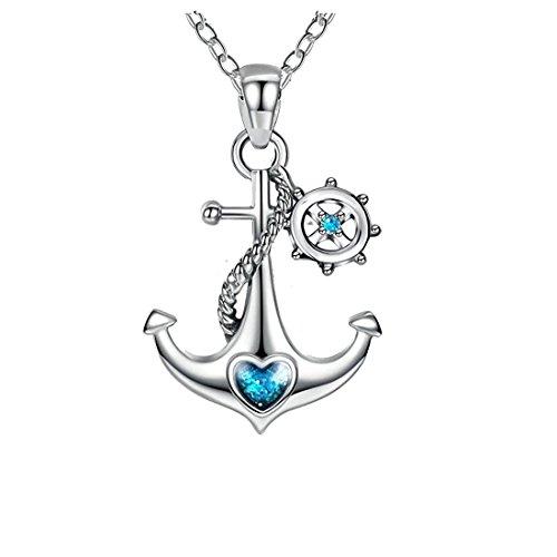Collana in argento Sterling 925 con ciondolo nautico, con ancora, timone e cuore blu oceano