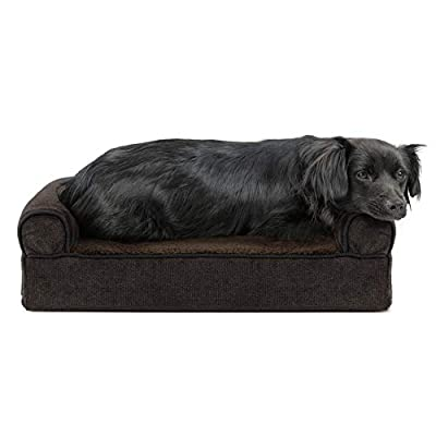 Furhaven Pet Dog Bed - Cooling Gel Memory Foam Faux Fleece and Chenille Soft Woven Traditional Sofa-Style Living Room Couch Pet Bed with Removable Cover for Dogs and Cats, Coffee, Small