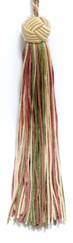 Set of 10 Vanilla, Dusty Rose, Light Olive Green Woven Head Chainette Tassel, 14cm Long with 51mm Loop, Basic Trim Collection Style# BH055 Color: 9401