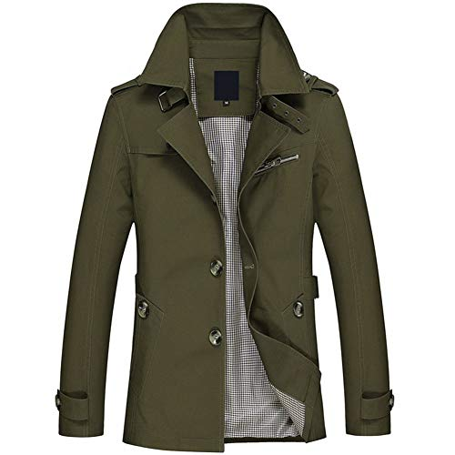 YOUTHUP Abrigos para hombre, ligeros, ajuste regular, clásico, estilo occidental, chaqueta militar