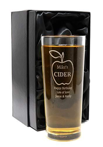 Vaso de pinta con diseño de sidra de manzana grabado/personalizable en caja de regalo